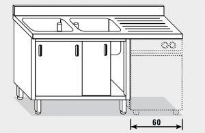 11961.16 Lavatoio per lavast. armadio g40 cm 160x70x85h 2v e sg dx - porte scorrevoli