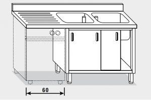 11962.20 Lavatoio per lavast. armadio g40 cm 200x70x85h 2v e sg sx - porte scorrevoli