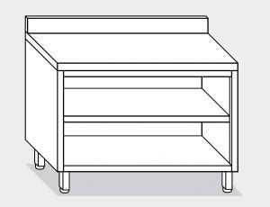 13001.20 Tavolo armadio a giorno g40 cm 200x60x85h alzatina posteriore- ripiano intermedio e di fondo