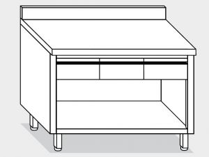 13104.14 Tavolo armadio a giorno g40 cm 140x70x85h alzatina posteriore - 3 cassetti orizzontali