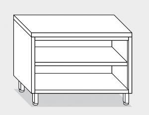 13105.14 Tavolo armadio a giorno g40 cm 140x80x85h piano liscio - ripiano intermedio e di fondo