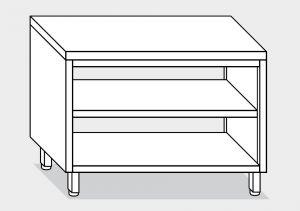 13107.15 Tavolo a giorno passante g40 cm 150x80x85h piano liscio - ripiano intermedio e di fondo