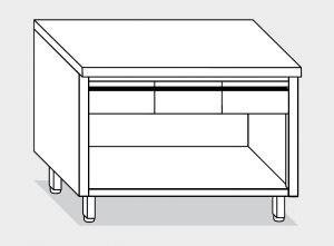 13108.14 Tavolo armadio a giorno g40 cm 140x80x85h piano liscio - 3 cassetti orizzontali