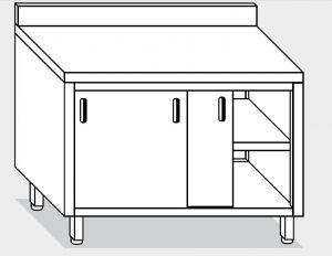 13201.18 Tavolo armadio g40 cm 180x60x85h alzatina posteriore - porte scorrevoli