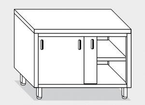 13202.14 Tavolo armadio g40 cm 140x60x85h piano liscio - porte scorrevoli su due lati