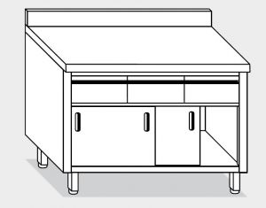 13204.14 Tavolo armadio g40 cm 140x60x85h alzatina post-3 cass. orizzontali-porte scorrevoli