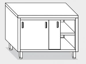13300.14 Tavolo armadio g40 cm 140x70x85h piano liscio - porte scorrevoli