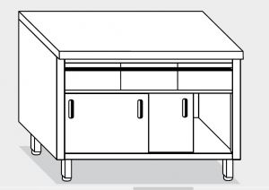 13303.15 Tavolo armadio g40 cm 150x70x85h piano liscio - 3 cass orizzontali-porte scorrevoli