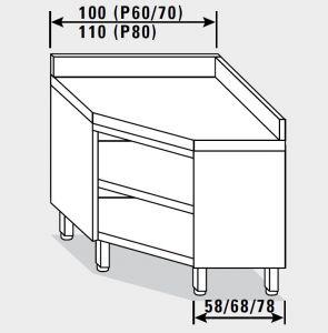 13401.10 Tavolo armadio g40 ad angolo cm 100x60x85h alzatina posteriore - a giorno