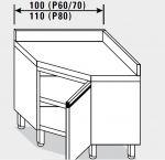 13403.10 Tavolo armadio g40 ad angolo cm 100x60x85h alzatina posteriore - porta a battente