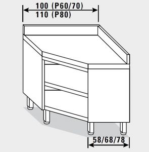 13505.11 Tavolo armadio g40 ad angolo cm 110x80x85h alzatina posteriore - a giorno