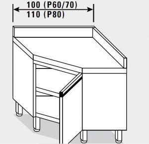 13507.11 Tavolo armadio g40 ad angolo cm 110x80x85h alzatina posteriore - porta a battente