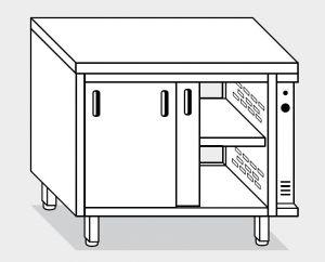 13602.10 Tavolo armadio caldo g40 cm 100x60x85h piano liscio - porte su due lati