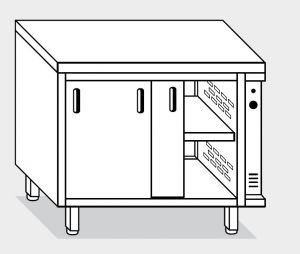 13702.16 Tavolo armadio caldo g40 cm 160x70x85h piano liscio - porte su due lati- 2 unita' calde