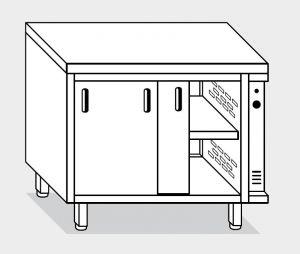 13703.19 Tavolo armadio caldo g40 cm 190x80x85h piano liscio - porte scorrevoli - 2 unita' calde