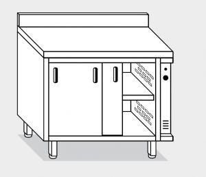 13704.15 Tavolo armadio caldo g40 cm 150x80x85h alzatina posteriore - porte scorrevoli