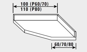 14841.10 Piano inox g40 angolo c/alzatina cm 100x60x14h