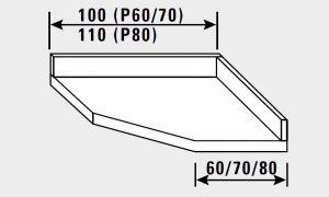14881.10 Piano inox g40 angolo c/alzatina cm 100x70x14h