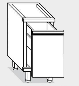 15240.06 Componibile tramoggia su guide g40 cm 60x70x81h con recipiente estraibile