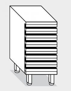 15300.05 Cassettiera pizze 7 cassetti g40 cm 50x68x81h con guide zincate telescopiche
