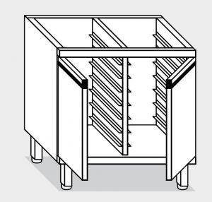 16300.08 Componibile armadietto teglie gn1/1 p/battenti g40 18 teglie cm 80x60x81h