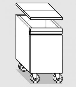 18056.78 Tramoggia carrellata semplice da cm 45x65x76h completa di coperchio