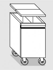 18078.45 Tramoggia carrellata con divisorio da cm 45x55x76h completa di coperchio