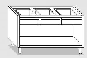 18111.17 Componibile armadio a giorno con 4 cassetti g40 cm 170x70x81h
