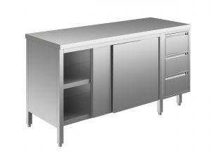 EU04101-15 tavolo armadio ECO cm 150x70x85h  piano liscio - porte scorr - cass 3c dx