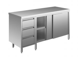 EU04102-21 tavolo armadio ECO cm 210x70x85h  piano liscio - porte scorr - cass 3c sx