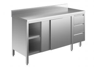 EU04103-16 tavolo armadio ECO cm 160x70x85h  piano alzatina - porte scorr - cass 3c dx