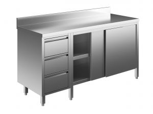 EU04104-24 tavolo armadio ECO cm 240x70x85h  piano alzatina - porte scorr - cass 3c sx