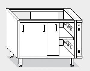 18601.20 Componibile armadio caldo passante con porte g40 cm 200x70x81h doppia unita' riscaldante