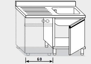 21952.12 Lavatoio per lavast. armadio agi cm 120x70x85h 1v sg sx - porta battente