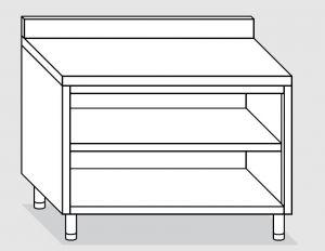 23001.15 Tavolo armadio a giorno agi cm 150x60x85h alzatina posteriore -ripiano intermedio e di fondo