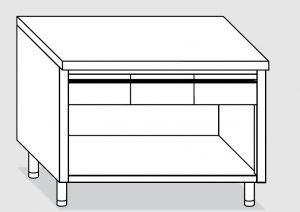 23003.18 Tavolo armadio a giorno agi cm 180x60x85h piano liscio - 4 cassetti orizzontali