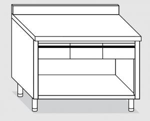 23004.16 Tavolo armadio a giorno agi cm 160x60x85h alzatina posteriore - 3 cassetti orizzontali