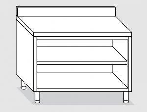 23101.12 Tavolo armadio a giorno agi cm 120x70x85h alzatina posteriore -ripiano intermedio e di fondo