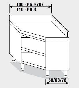 23401.10 Tavolo armadio agi ad angolo cm 100x60x85h alzatina posteriore - a giorno