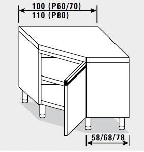 23502.10 Tavolo armadio agi ad angolo cm 100x70x85h piano liscio - porta a battente
