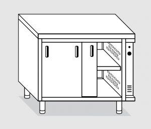 23700.15 Tavolo armadio caldo agi cm 150x70x85h piano liscio - porte scorrevoli