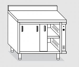 23701.15 Tavolo armadio caldo agi cm 150x70x85h alzatina posteriore - porte scorrevoli
