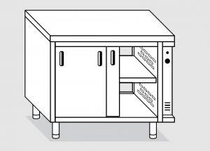 23702.12 Tavolo armadio caldo agi cm 120x70x85h piano liscio - porte scorrevoli su due lati