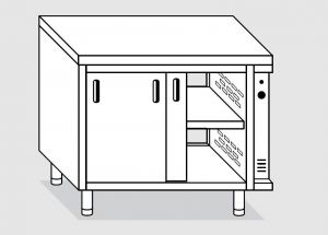 23702.14 Tavolo armadio caldo agi cm 140x70x85h piano liscio - porte scorrevoli su due lati