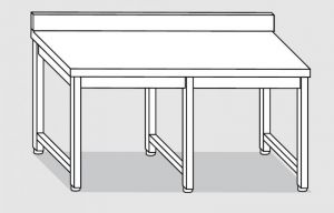 30101.26 Tavolo su 6 gambe past cm 260x90x85h alzatina posteriore-senza ripiano inferiore