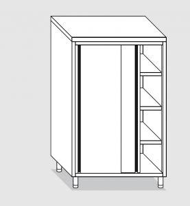 34204.10 Armadio verticale past cm 100x60x160h porte scorrevoli - 3 ripiani interni regolabili