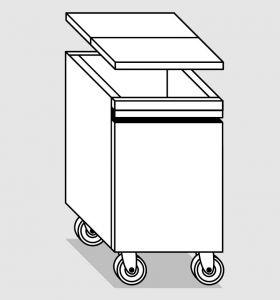 38055.78 Tramoggia carrellata semplice da cm 45x55x76h completa di coperchio