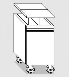 38078.45 Tramoggia carrellata semplice c.divisorio da cm 45x55x76h completa di coperchio