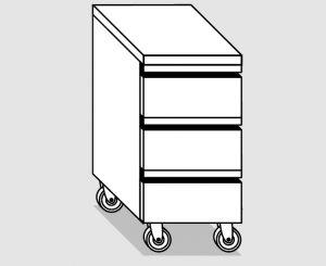 45010.04 Cassettiera ruote 3c gn1/1 h15 agi cm 40x60x84h