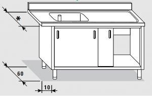 52500.19 Tavolo armadio entrata dx porte scorrevoli agi cm 190x*x85h 1 vasca